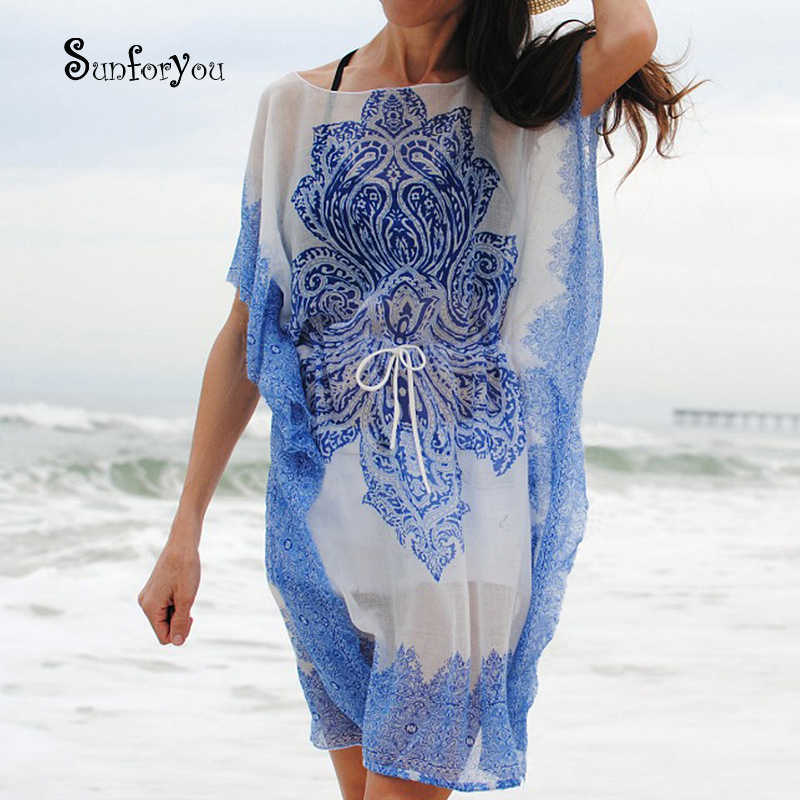 Chiffon Bikini Cover Up Tunik untuk Sarung Pantai Pareos Beach Cover Up Vestidos Playa Beach Kaftan Baju Cover Ups baju Renang