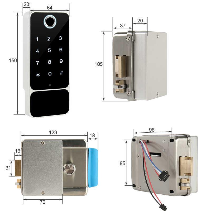 RAYKUBE serrure de porte d'empreintes digitales étanche porte extérieure Bluetooth TT serrure Wifi mot de passe carte à puce sans clé entrer serrure électronique W5