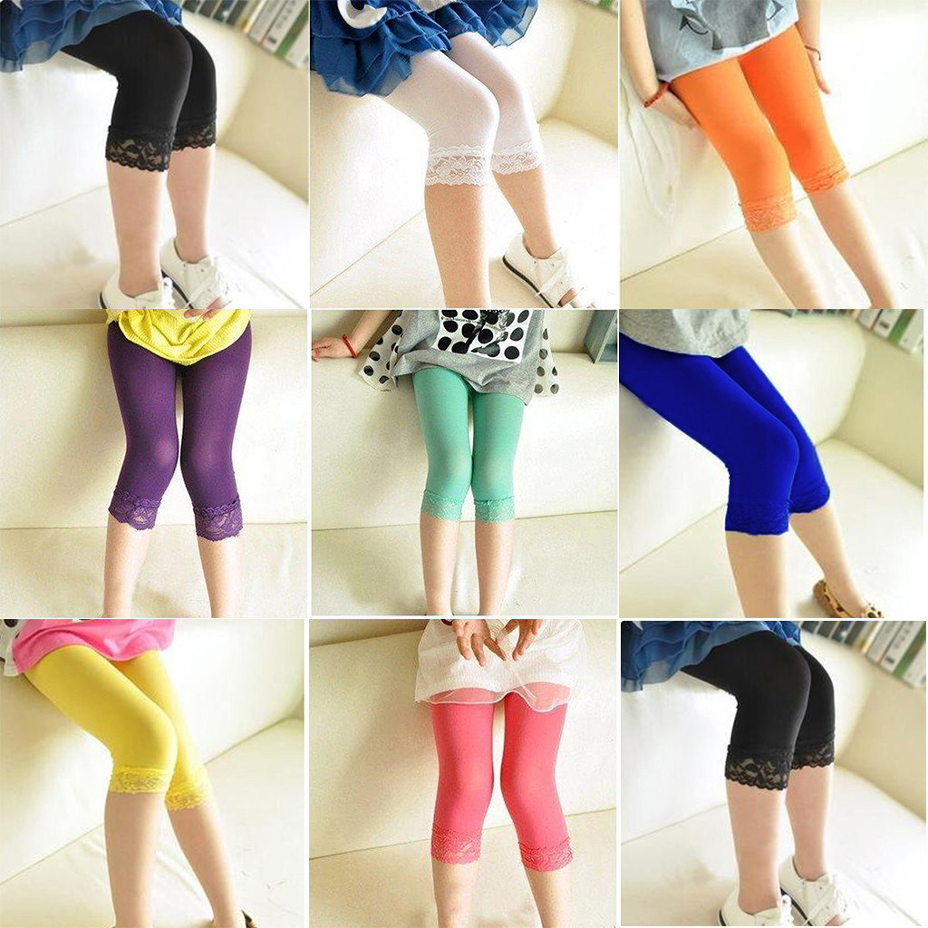 Kids Chlid Girl Solid Leggings Summer Stretch Lace Leggings Skinny Capris Candy Color Print Casual Pant Suit For 2-15 Years Baby