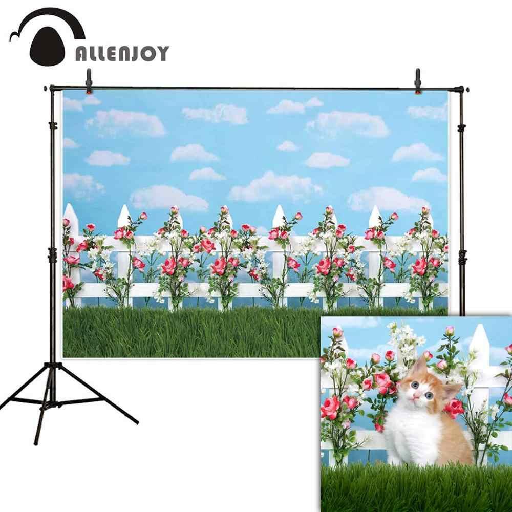 Allenjoy Cloud Achtergrond Bloemen Gras Hek Lente Valentine Portret Fotografie Studio Achtergrond Photozone Props
