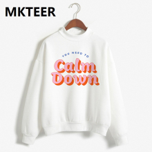 Winter You Need To Calm Down Painting Harajuku Print Pullover Thick Loose Women