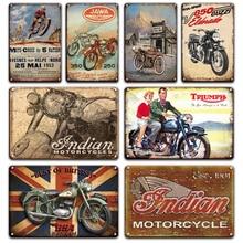 Lambetta Triumph-señales de Metal de hojalata para motocicletas, signo de garaje, decoración del hogar, cartel indio Vintage, para sala de estar, placas decorativas de pared