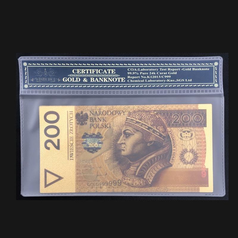 Agradável a Polónia Banknote 200 PLN Quadro do Ouro Banknote com COA Na Coleção 24k Banhado A Ouro para o Negócio