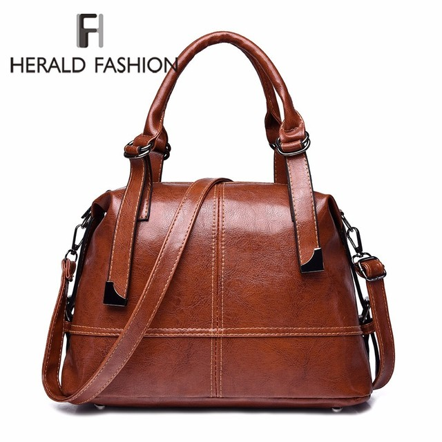 Herald Fashion Woman Bags Crossbody Bags For Women Retro Vintage Ladies Leather Handbags Women Shoulder Bag Female Zipper Sac