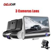 Dash Cam 4 นิ้ว IPS Dash กล้อง Dual เลนส์ 3 เลนส์รถ DVR กระจกมองหลังกล้องบันทึกภาพอัตโนมัติ registrator Dvrs
