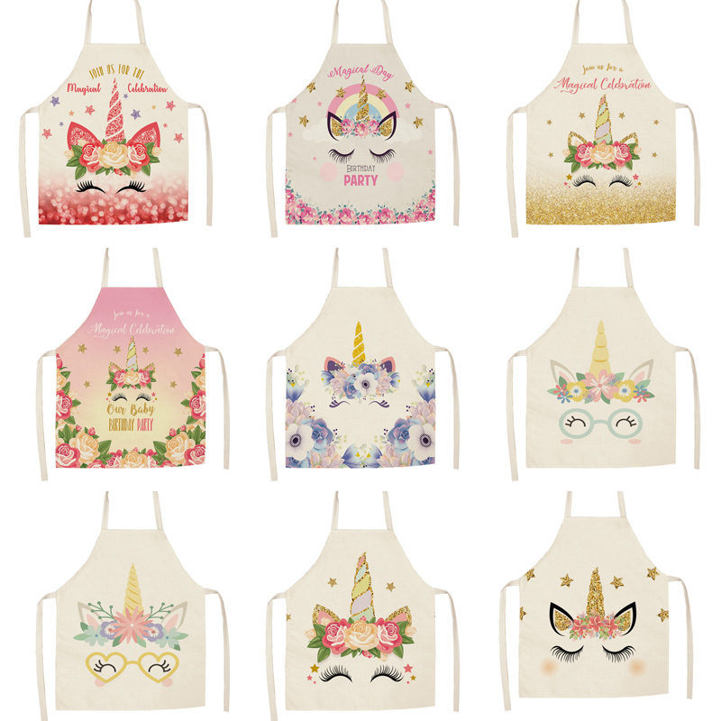 Parent-child Kitchen Apron Cartoon  Unicorn Eyelash Printed Sleeveless Cotton Linen Aprons For Men Women Home Cleaning Tools