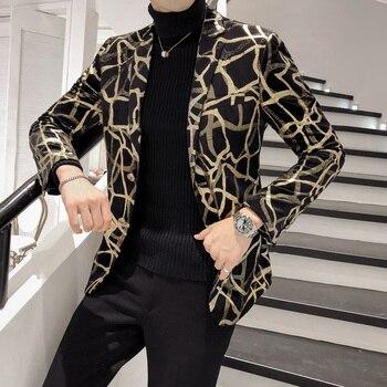 2020 New Blazer Men Korean Slim Fit Print Mens Blazer Jacket Long Sleeve Casual Hairstylist Suit Jacket Dress Blazer Masculino