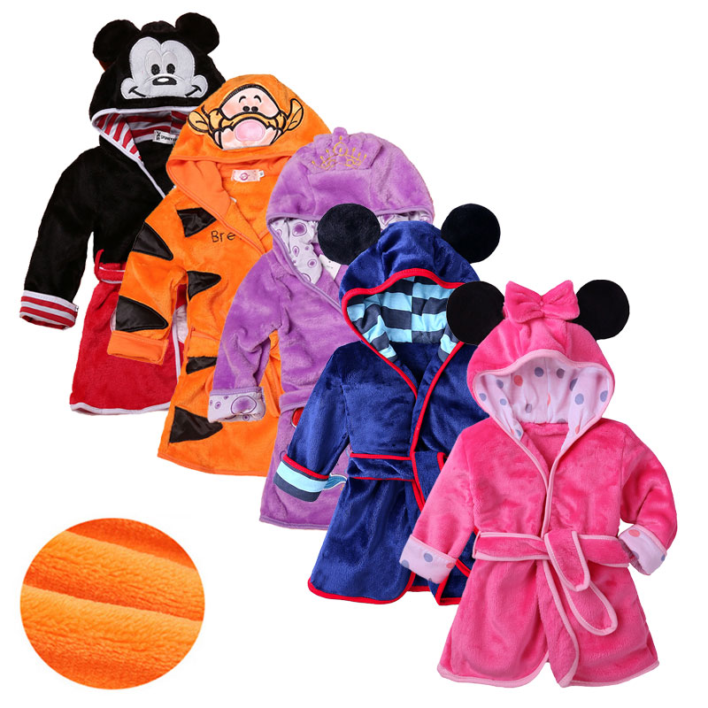 Long Sleeve Hooded Kids Boys Girls Robe Soft Flannel Children's Robe Cartoon Animal Baby Bath Robe Warm Children Clothes