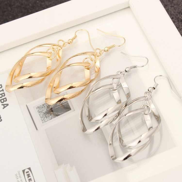 ขายใหม่แฟชั่น Twisted แหวนคู่ OL ยอดนิยม Super Shiny ต่างหูเครื่องประดับต่างหู