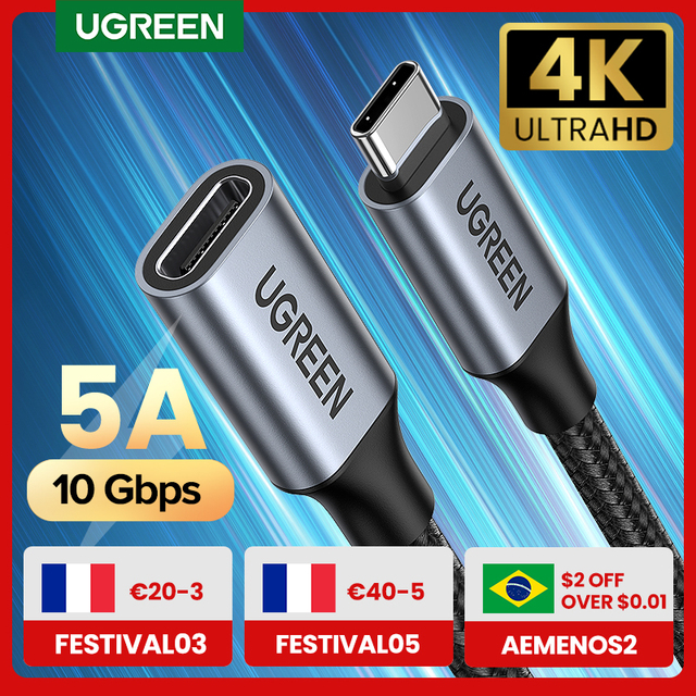Ugreen USB C Extension Cable Type C Extender Cord USB-C Thunderbolt 3 for Xiaomi Nintendo Switch USB 3.1 USB Extension Cable 1