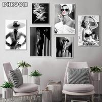 موضة جدار الفن أسود أبيض تحت الماء امرأة طباعة مثير أنثى المشارك قماش الفن الجمال جدار لوحة فنيّة ديكور المنزل الحديث