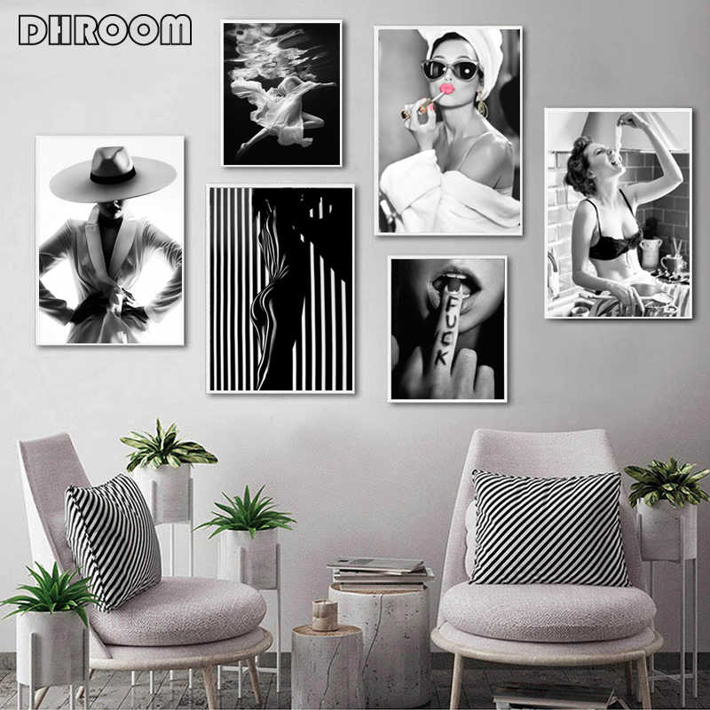Fashion Wall Art nero bianco donna subacquea stampa Sexy femminile Poster Canvas Art Beauty Wall Picture pittura Modern home decor