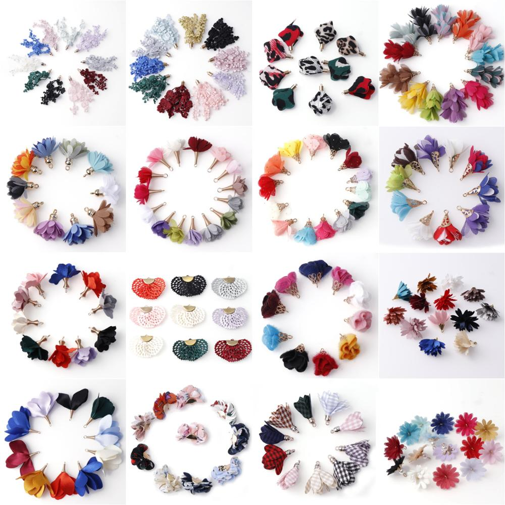 6~10Pcs Mixed Types Tassel DIY Flower Silk Polyester Charms Pendant Drop Earring Tassel Fashion Women Jewelry Bag Accessories