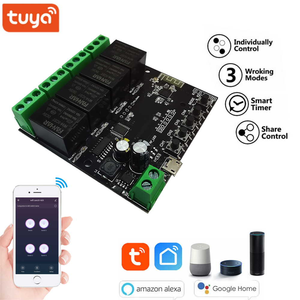 4CH Tuya Switch WiFi Switch Module Wireless Relay Smart life APP Remote Control Smart Timer for Smart Home with Alexa Google hom