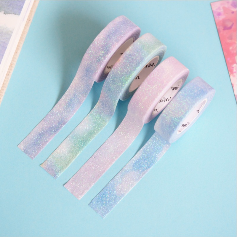1.5cm Flash Powder Bullet Journal Washi Tape Adhesive Tape DIY Scrapbooking Sticker Label Masking