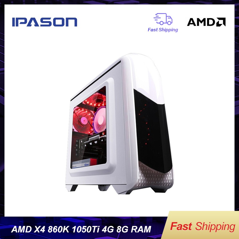 IPASON Office Desktop Computer Gaming Card 1050TI 4G AMD X4 860K RAM DDR3 8G 120G SSD Barebone System Windows 10 Cheap Gaming PC
