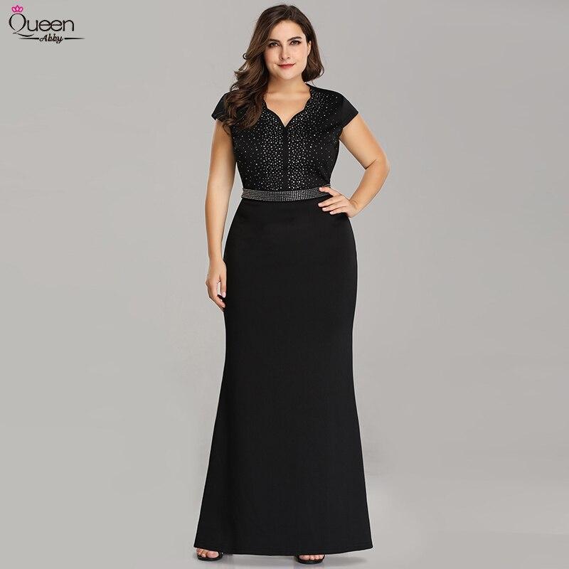 Plus Size Black Evening Dresses Long Mermaid Sparkle V-Neck Beaded Short Sleeve Elegant Empire Formal Gowns For Wedding Party