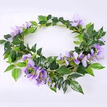 yumai 180cm Purple Wisteria Vines Artificial Flowers Rattan Wreath Garland for Wedding Wall Decor Farmhouse Garden Decoration