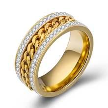 Модное кольцо из титановой стали 2 ряда нержавеющей с цирконом