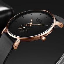 LIGE New Fashion Mens Watches Top Brand Luxury Black Quartz Watch For Men Soft S