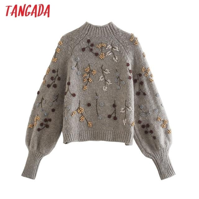Tangada Women Beading Flowers Turtleneck Sweater Jumper Female Elegant Oversize Pullovers Chic Tops 3L68 5