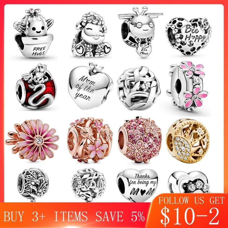 2020 Spring New 925 Sterling Silver Ninny Rabbit Series Charms Fit Original Pandora Bracelet Bangle DIY Jewelry Making 2001