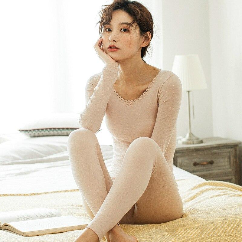 Female Pyjamas Set Seamless Body Thermal Underwear Women's Sleepwear Suit Bottoming Slim Autumn Winter Home Clothing Long Johns