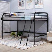 Modern Kid Bed Metal Single Loft Beds Guard Rail Ladder Children Bedroom Storage Baby Furniture Sturdy Frame Easy Assembly Black