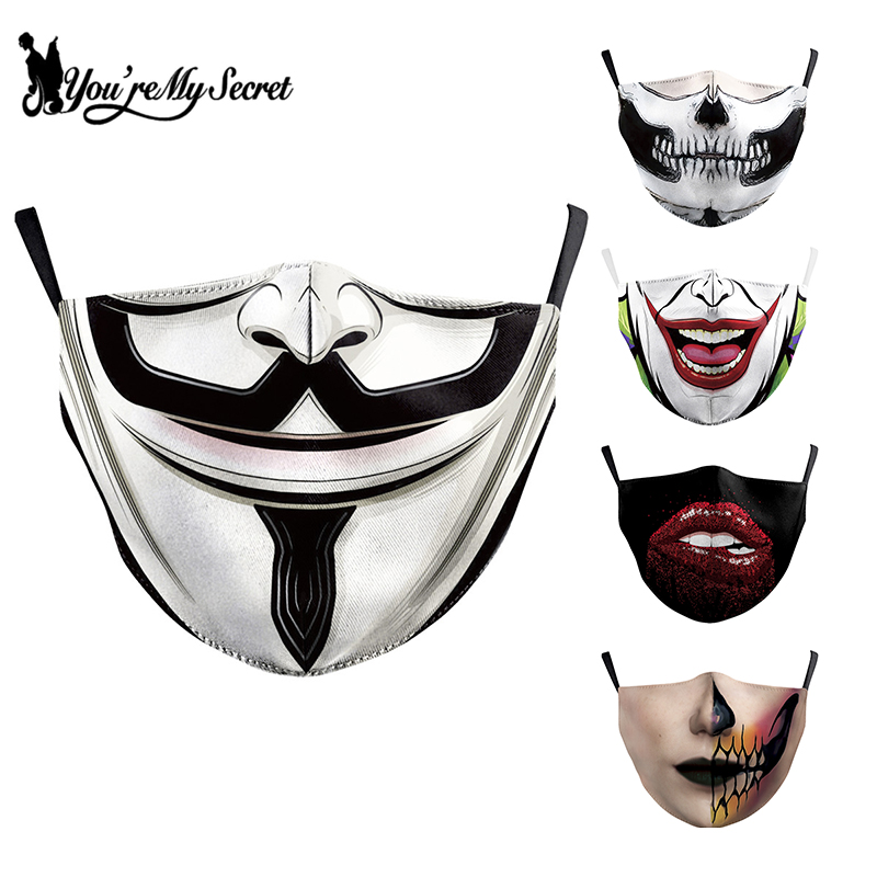[You're My Secret] Jack Skellington Print Face Mask Gothic Skull Mouth Cover Fabric Masks Protective PM 2.5 Dust Masks Reusable