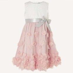 Новое летнее платье для маленьких девочек на 1 год, для дня рождения, вечерние церемонию покроя «Принцессы», платья для маленьких девочек, платья для детей розового цвета Vestidos От 1 до 5 лет