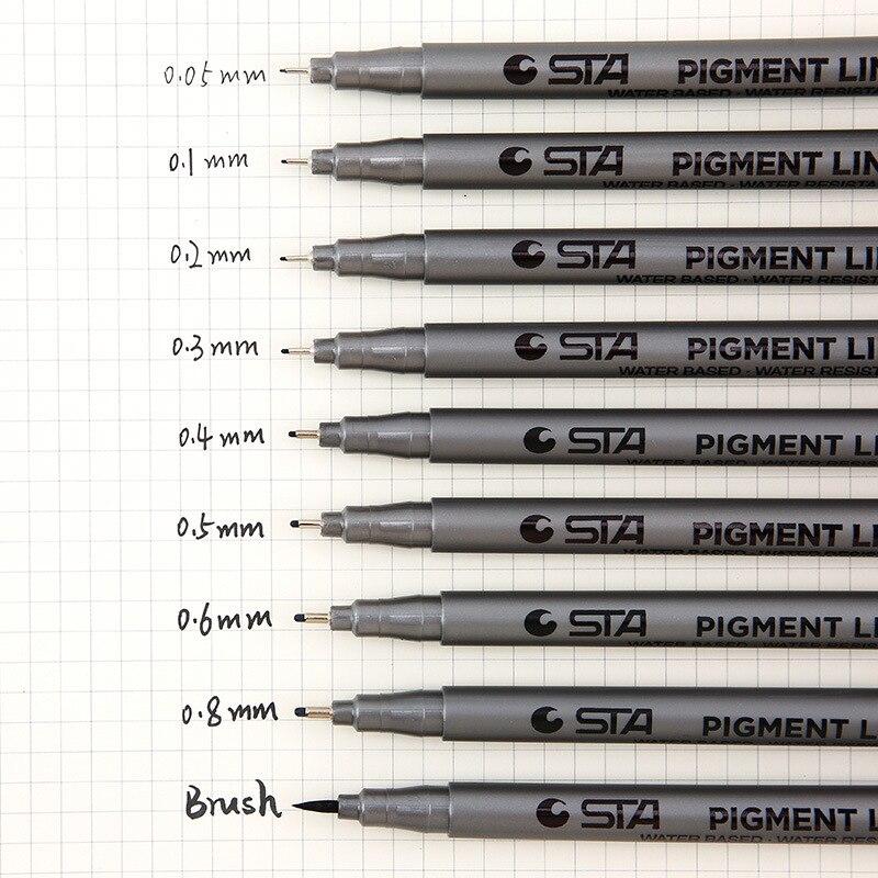 1pcs Pigment Liner Pigma Micron Ink Marker Pen 0.05 0.1 0.2 0.3 0.4 0.5 0.6 0.8mm Different Tip Black Fineliner Sketching Pens
