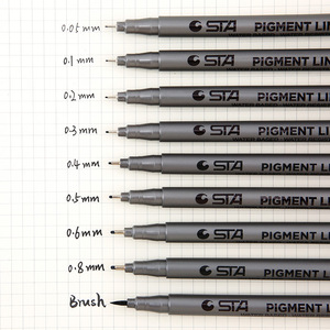 1pcs Pigment Liner Pigma Micron Ink Marker Pen 0.05 0.1 0.2 0.3 0.4 0.5 0.6 0.8mm Different Tip Black Fineliner Sketching Pens