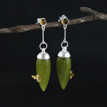 Natural Tourmaline Olive Jade Earrings3