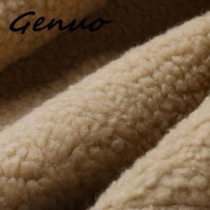 Image 5 - Genuo 男性の冬の革模造バイカーオートバイジッパー長袖コートスリムショート男性 Moto シープスキンショートジャケット