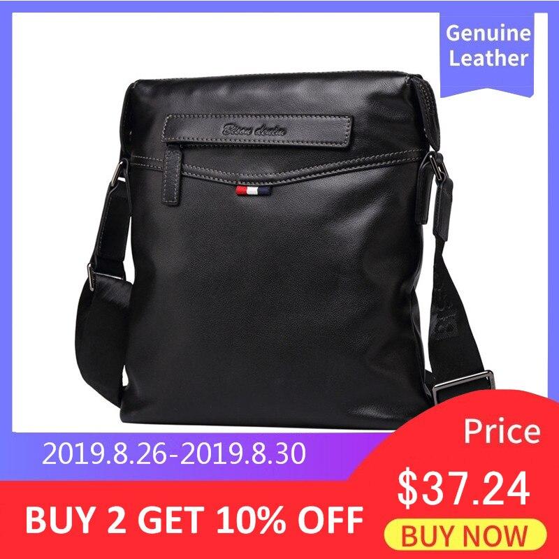 BISON DENIM saco saco de couro genuíno Dos Homens Clássicos de Negócios Preto marca designer saco crossbody Sacos de Ombro N2490