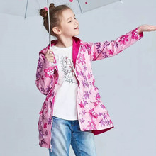 A Windbreaker for Girls Children Winter Clothes Outwear Fleece Coat Slim Hooded Waterproof Jacket for Girls 2 3 4 5 6 7 8 Year 2020 autumn winter waterproof windbreaker girls jacket for child hooded star polar fleece girls outerwear coat 3 12t kids jacket