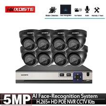 プラグアンドプレイ POE NVR 8CH Xmeye CCTV 顔識別システムで 5MP/屋外 POE IP カメラ Ir デイ /ナイトセキュリティ監視キット
