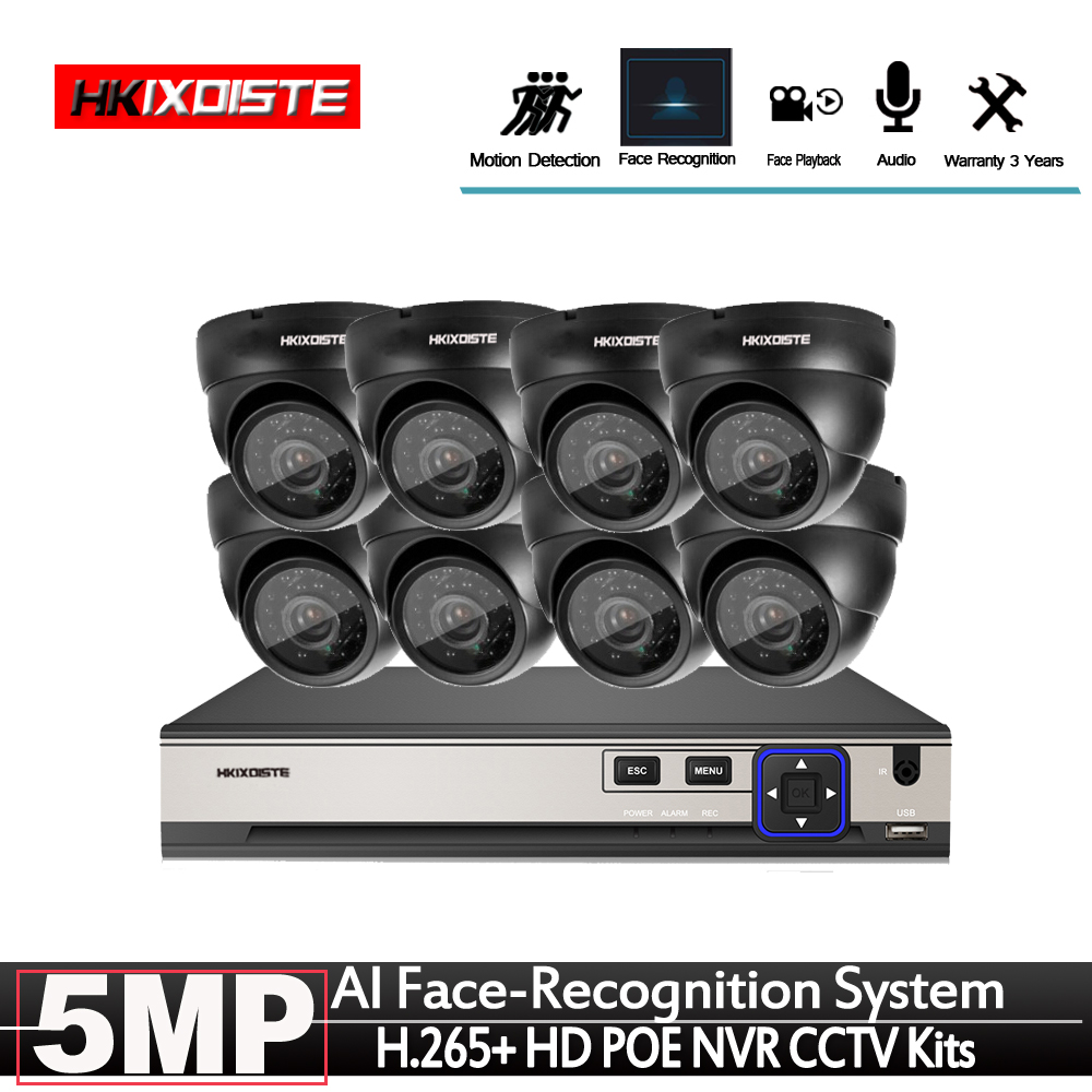 Closeout Deals▒Plug and play POE NVR 8CH Xmeye CCTV Face Identify System 5MP In/Outdoor POE IP Camera