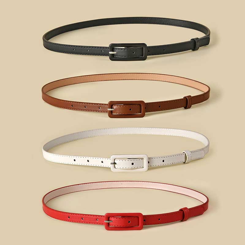 Multi color Lady's Slender Thin Belt Square Head Pin Buckle Women Waist Belt Elastic Waist Belt Candy Color Jeans Buckle Belt