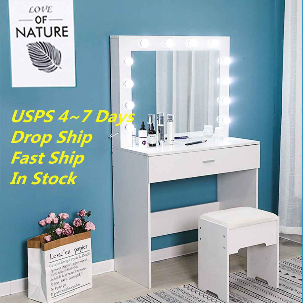 Vanity Set With Lighted Mirror Cushioned Stool Dressing Table Bedroom Vanity Makeup Table Drawer Vanity Table Set 2020 New Hot Aliexpress