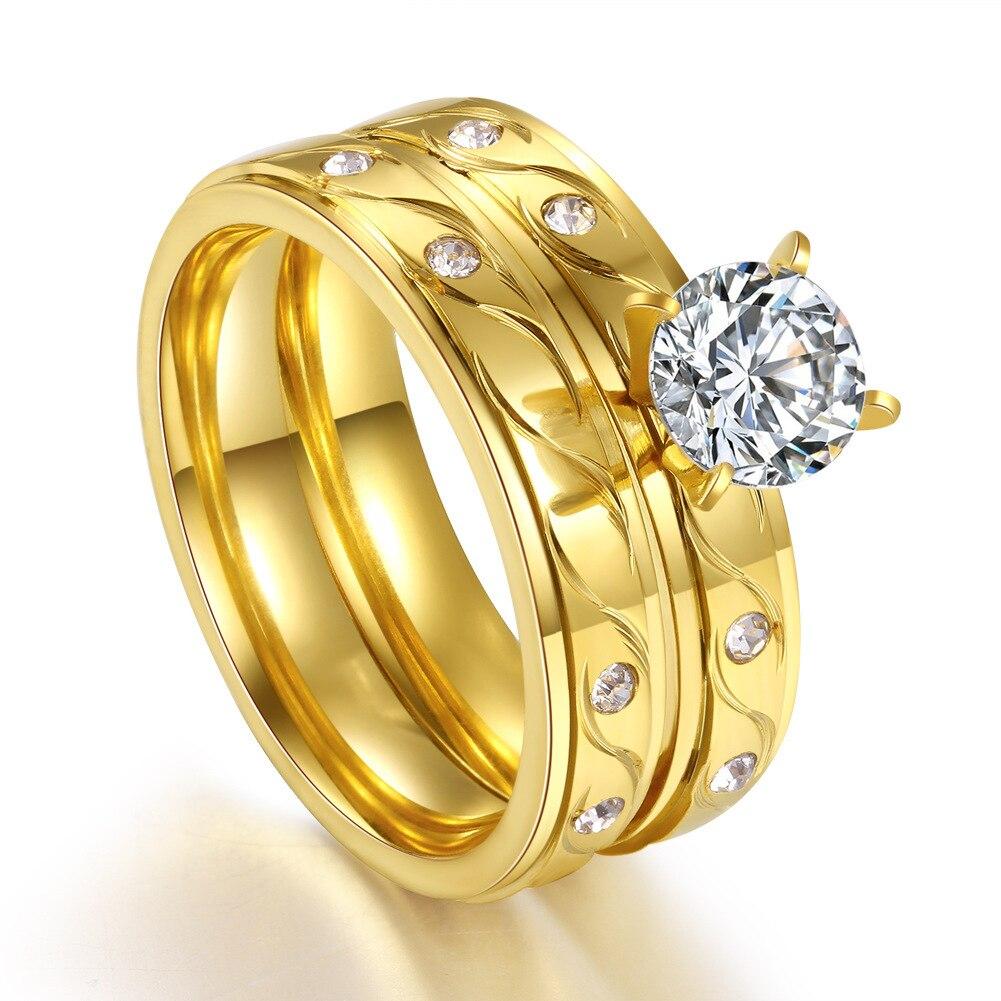 FS1356 Vergoldeten Titan Stahl Ring mit Runde Große Zirkon Set Ring