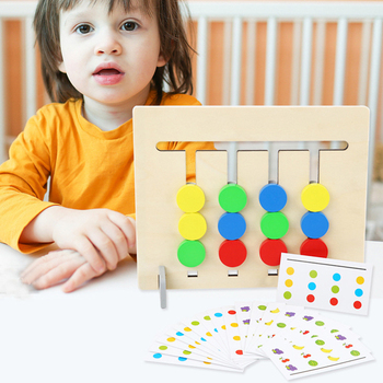 Montessori Math Toys Children Wooden Puzzle 4 Color Fruit Game Matching Toys Preschool Educational Toddler Learning Toy