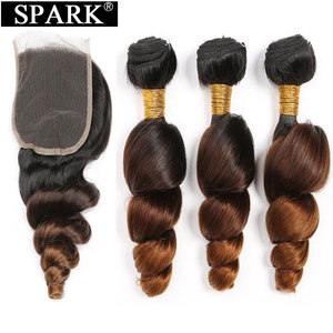Image 1 - ניצוץ Ombre מלזי Loose גל שיער טבעי 3/4 חבילות עם סגירת רמי שיער טבעי הארכת התיכון שלוש חלק בינוני יחס