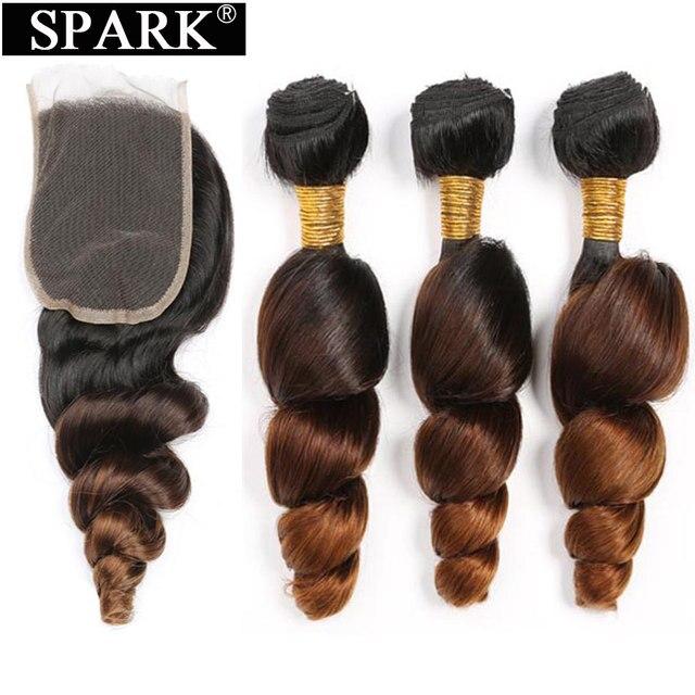 ניצוץ Ombre מלזי Loose גל שיער טבעי 3/4 חבילות עם סגירת רמי שיער טבעי הארכת התיכון שלוש חלק בינוני יחס