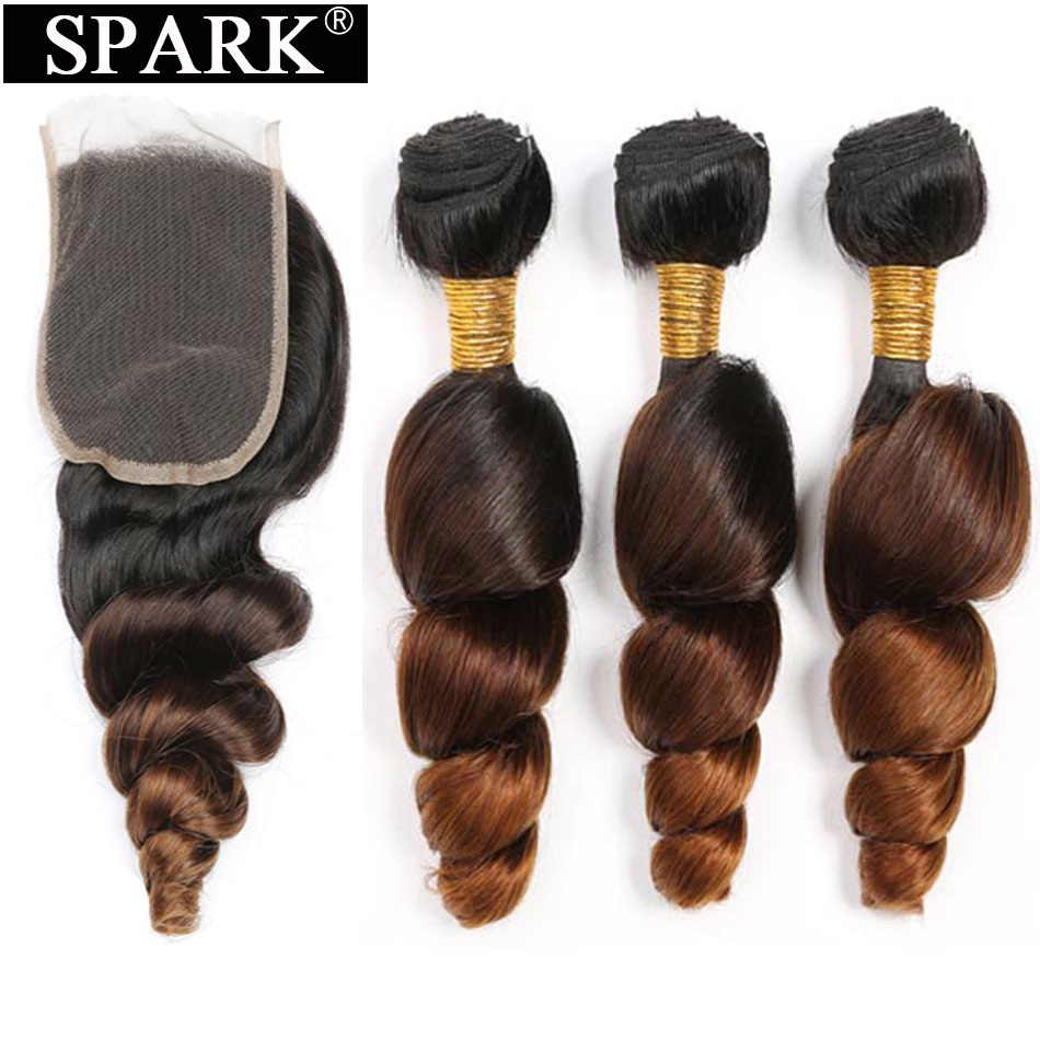 Spark Ombre Malaysian Loose Wave Human Hair 3/4 Bundles With Closure 4*4 Free Part Remy Hair Extension Free Middle Part L