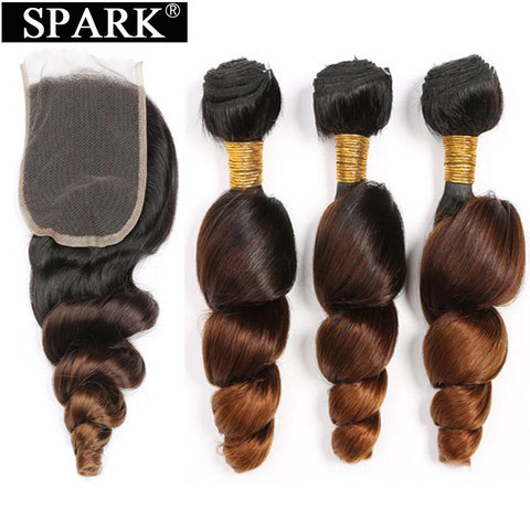 Spark Ombre Malaysian Loose Wave Human Hair 3/4 Bundles with Closure 4*4 Free Part Remy Hair Extension Free Middle Part 1B/4/30 Pakistan