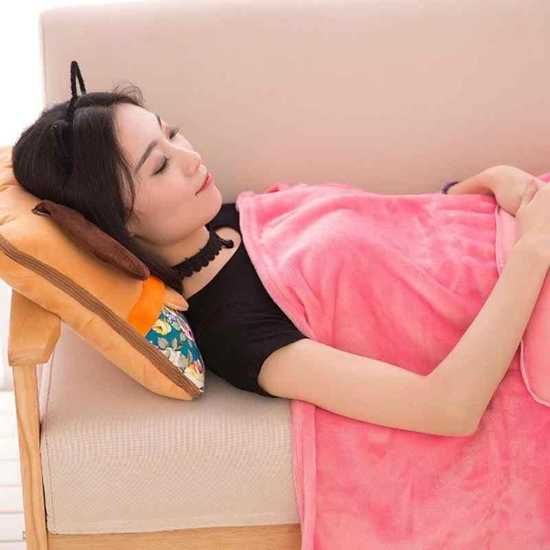 2 で 1 ぬいぐるみ枕毛布デュアルユースエアコンキルトクリスタルベルベットの毛布ソフトクッションソファ小道具ベビーケア