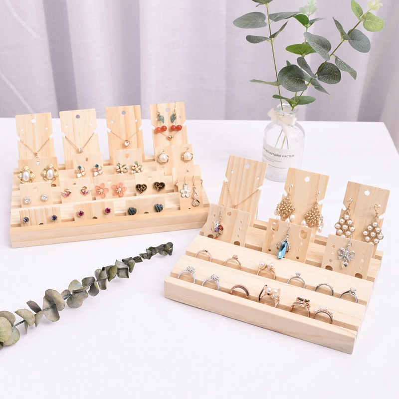 Wood Earrings Jewelry Display Props Card 3 Slot Plate Jewelry Display Earrings Shelf Storage Jewelry Rack