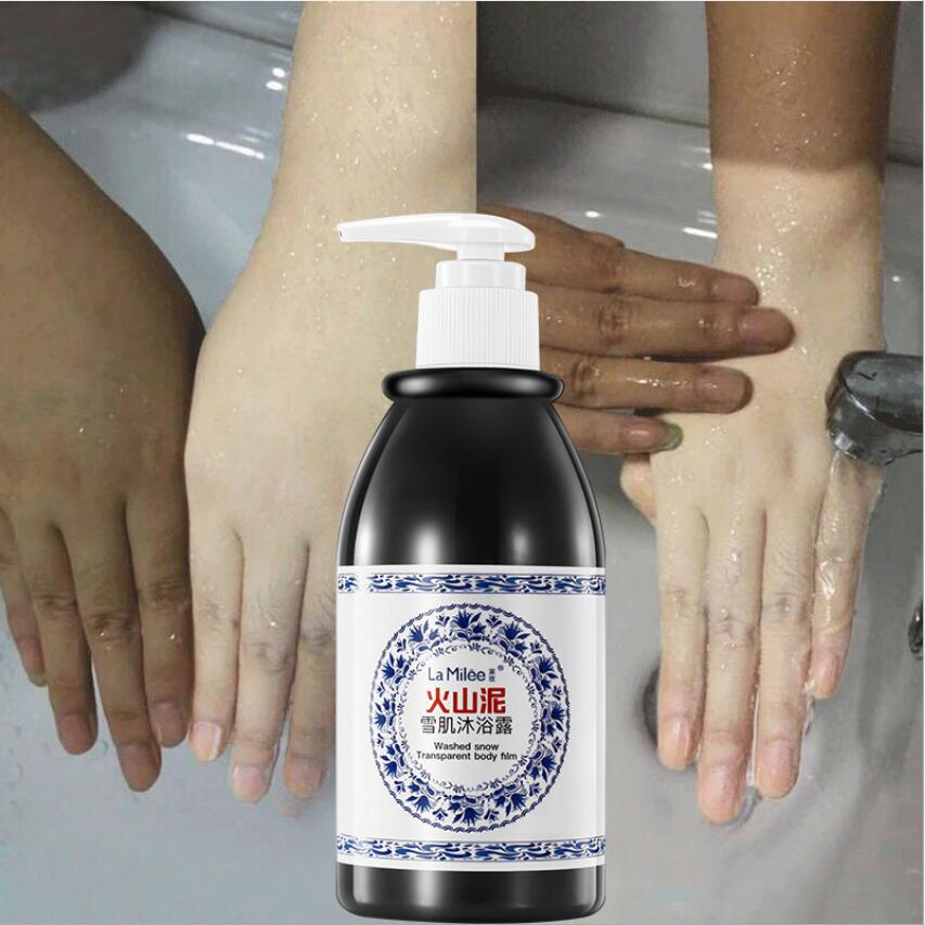 250ml Hot Sale Volcanic Mud Shower Gel Whole Body Wash Fast Whitening Deep Clean Skin Moisturizing Exfoliating Body Care