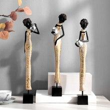 Vintage decoración del hogar Mujer Africana gente adornos para armario de TV decoración figuritas de resina cultura Retro estatua de los indios